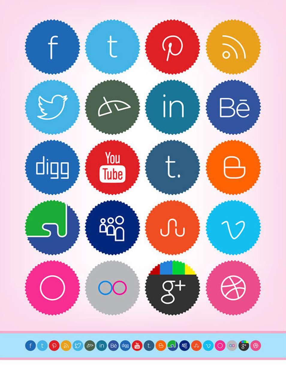 20 Free Cute & Minimalist Social Media Icons Set (256 x 256 PNG)