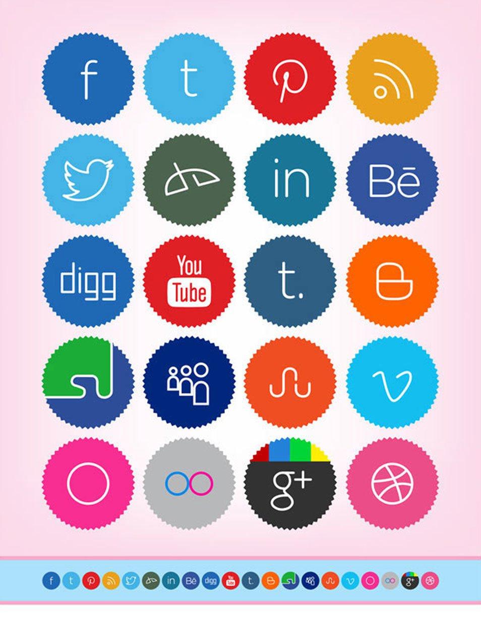 20 Free Cute & Minimalist Social Media Icons Set (256 x 256 PNG)