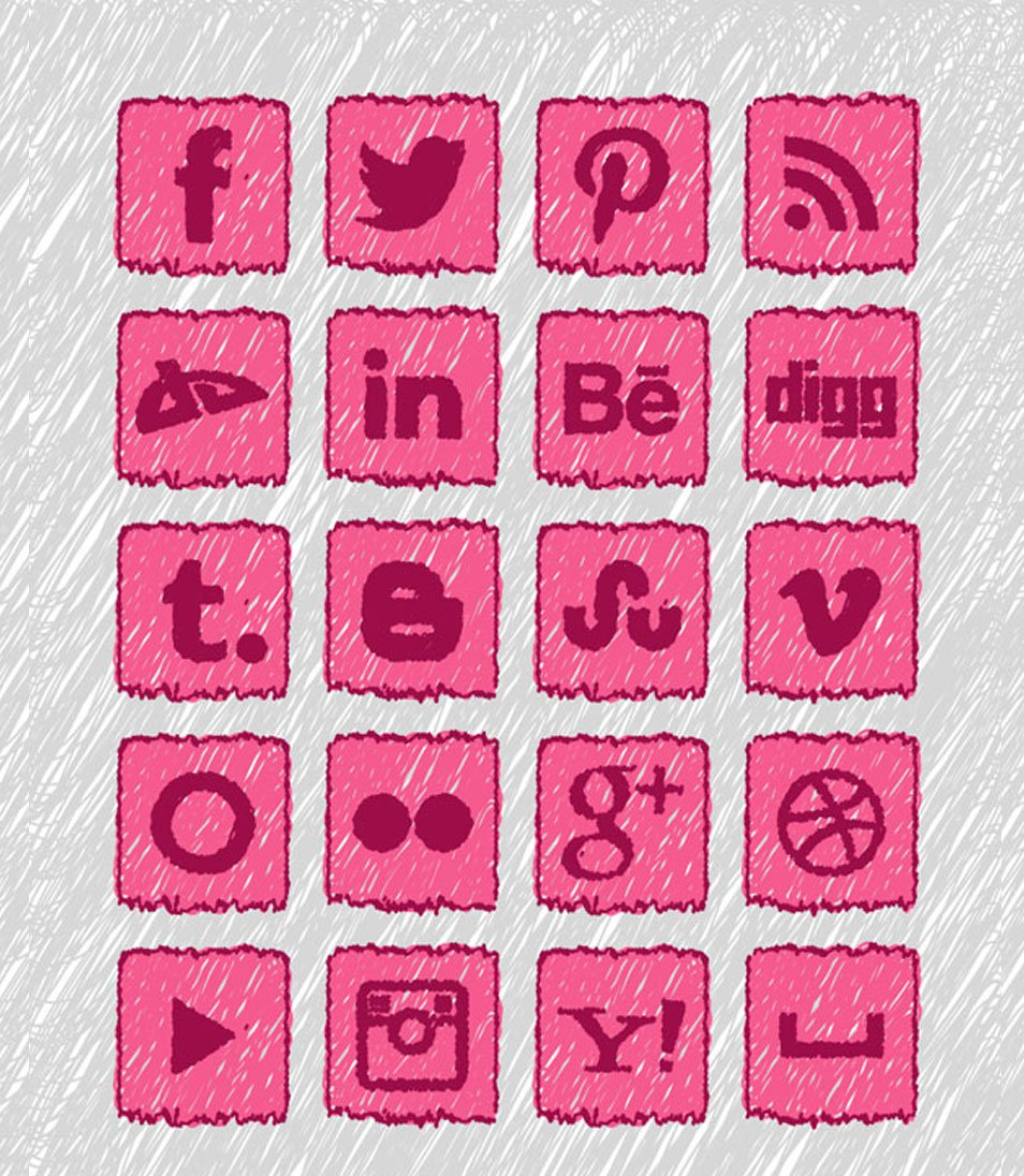 20 Free Handmade Social Media Icons Set
