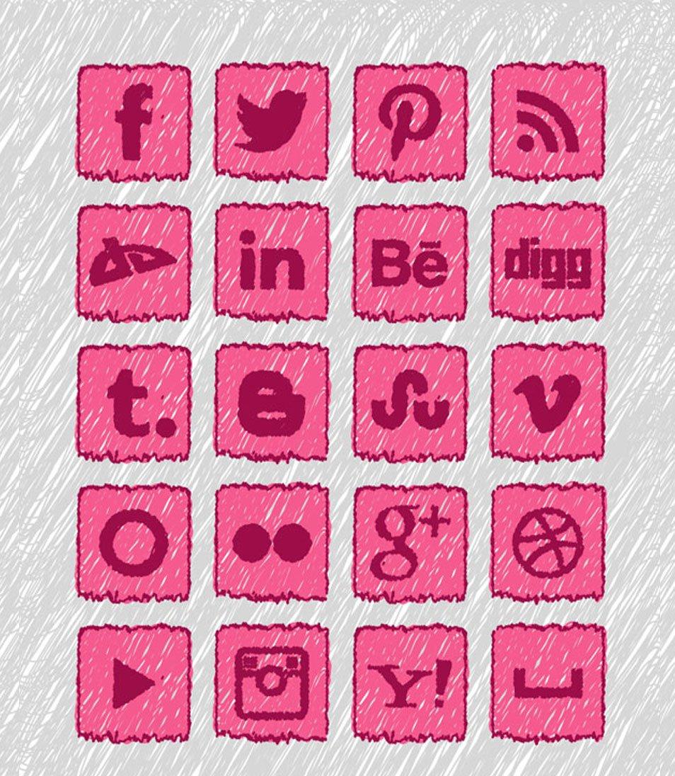 20 Free Handmade Social Media Icons Set