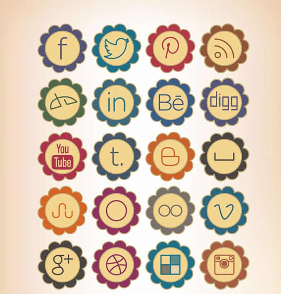 20 Free Retro Style Social Media Icons 2013