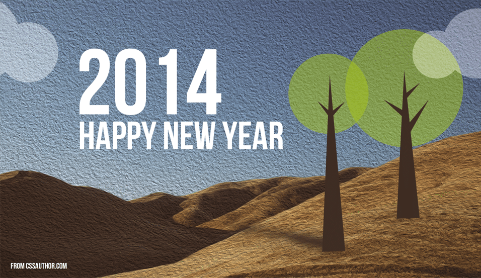 2014 New Year Greetings Card PSD_1