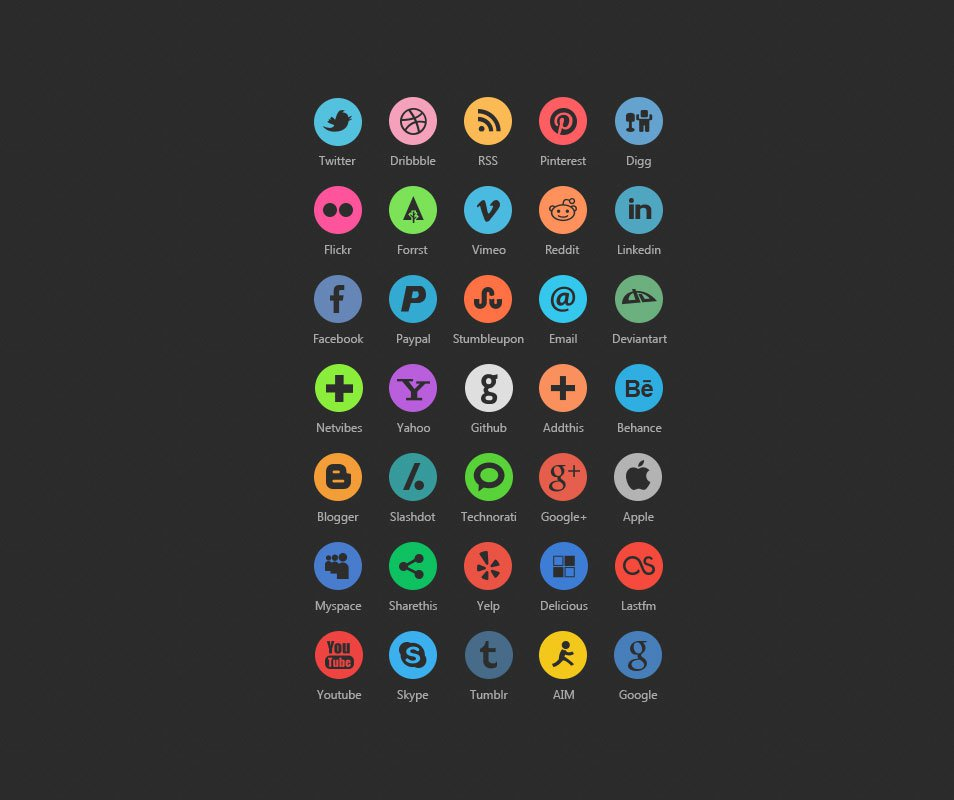 35 Dark Rounded Social Icons PSD