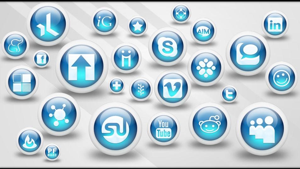 3d Glossy Blue Orbs Social Media Icons