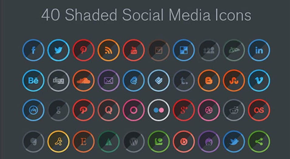 40 Free Shaded Social Media Icons