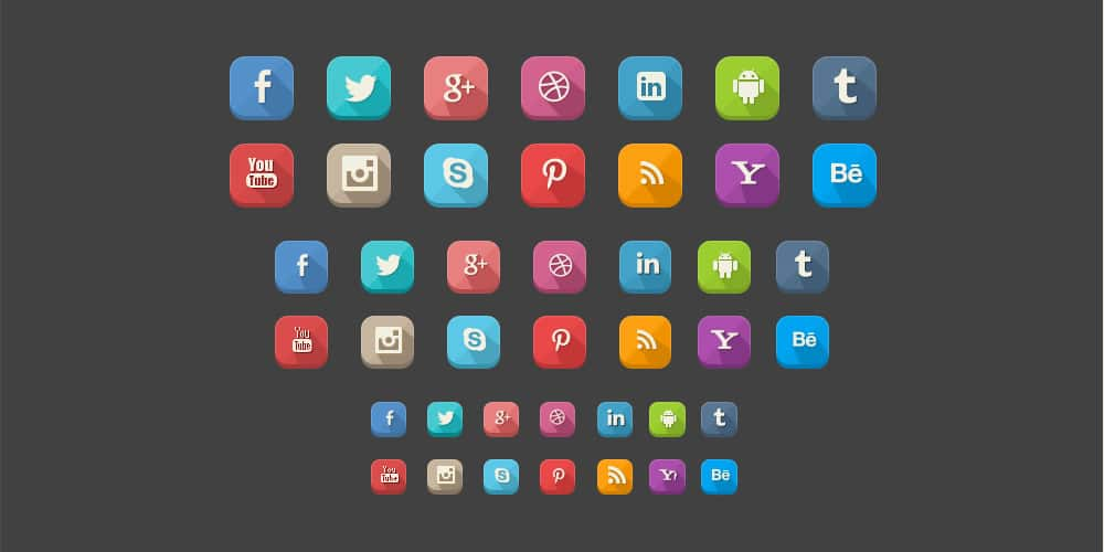 42 Long Shadow Social Icons PSD