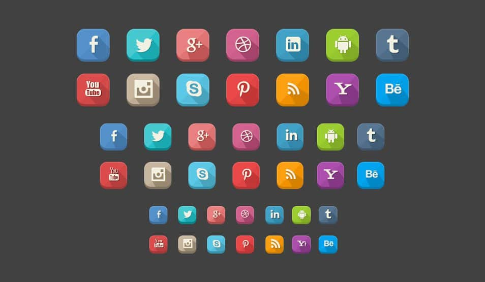 42 Long Shadow Social Icons(PSD)