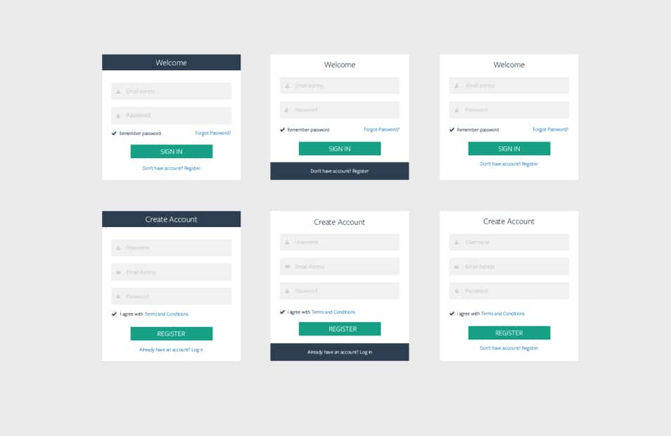 6 Login or Register Boxes PSD