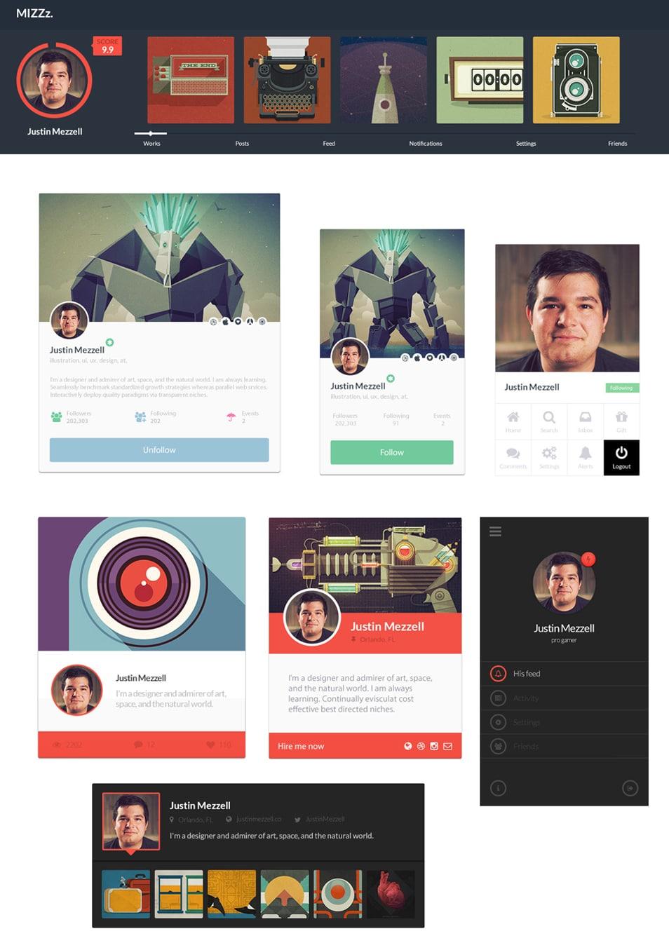 7 Free PSD Profile UI