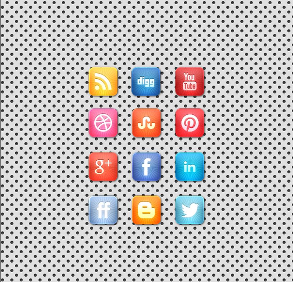 A Beautiful Free Vibrant Starburst Social Media Icon Set