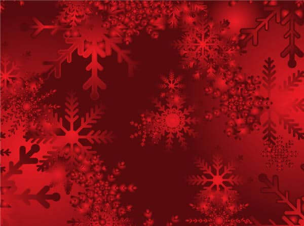 Abstract Christmas Snow on Red Background