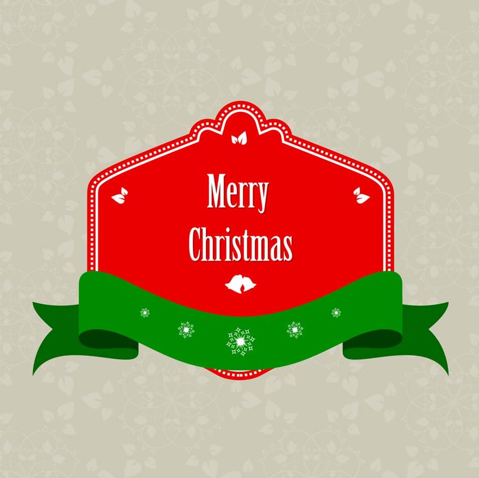 Banner Merry Christmas with green ribbon