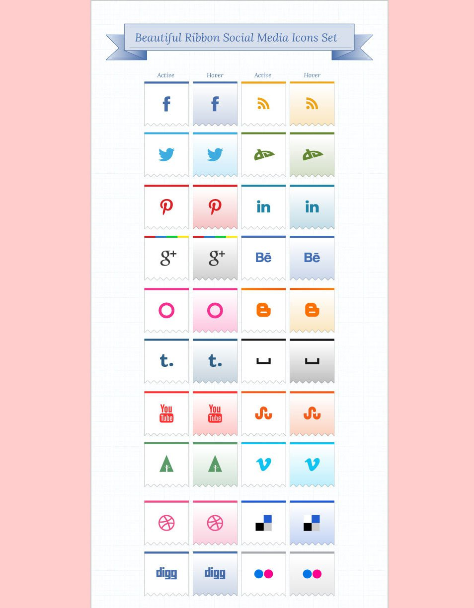 Beautiful Ribbon Social Media Icons Pack