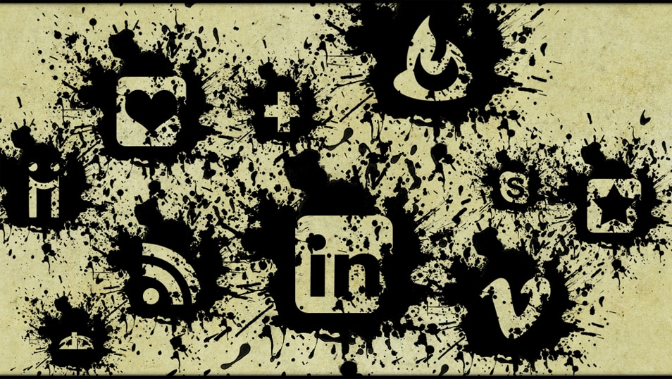 Black Paint Splatter Social Media Icons