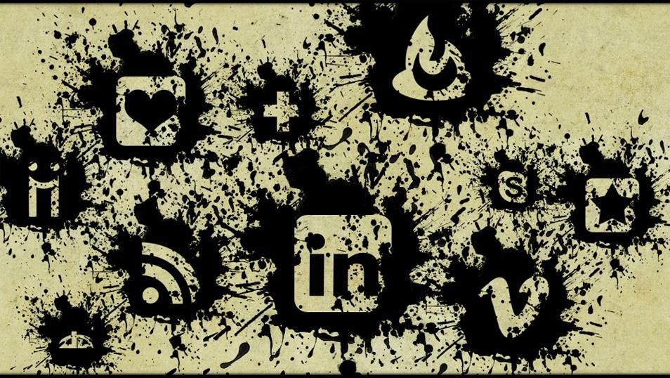 Black Paint Splatter Social Media Icons