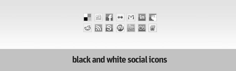 Black and white social icons