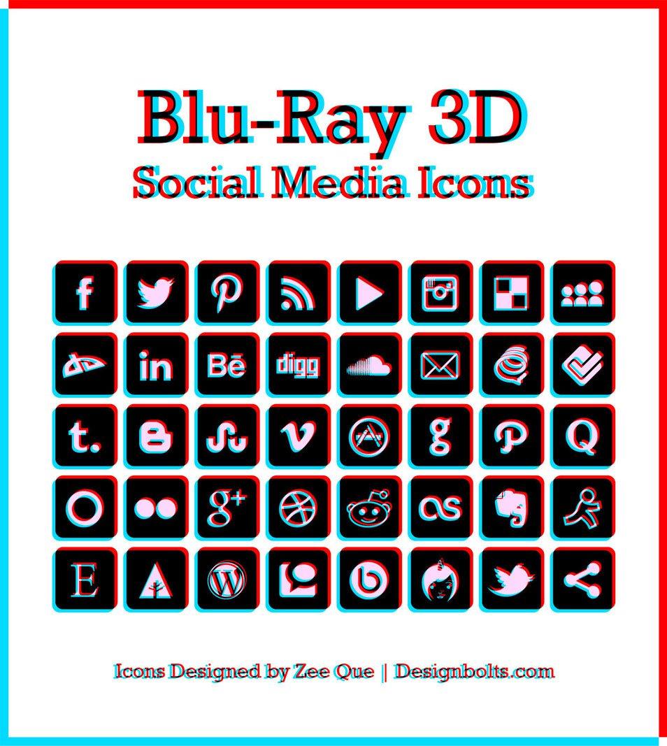 Blu-ray 3D Social Media Icons