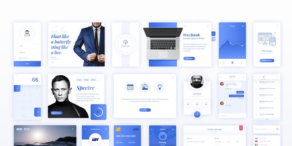Blue UI Kit PSD
