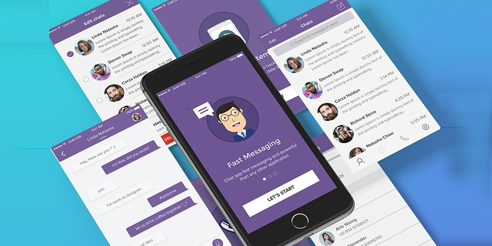 Chat App UI Kit PSD