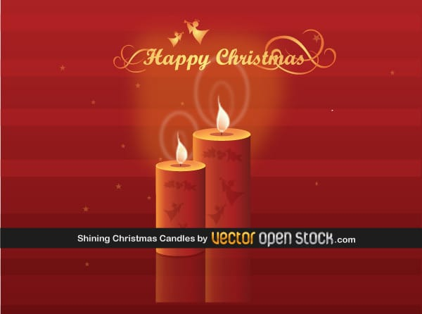 Christmas Candles on Red Background