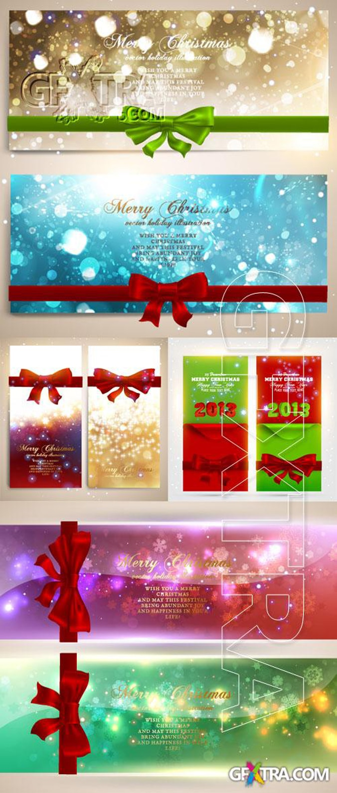 Christmas banners with ribbons and bows