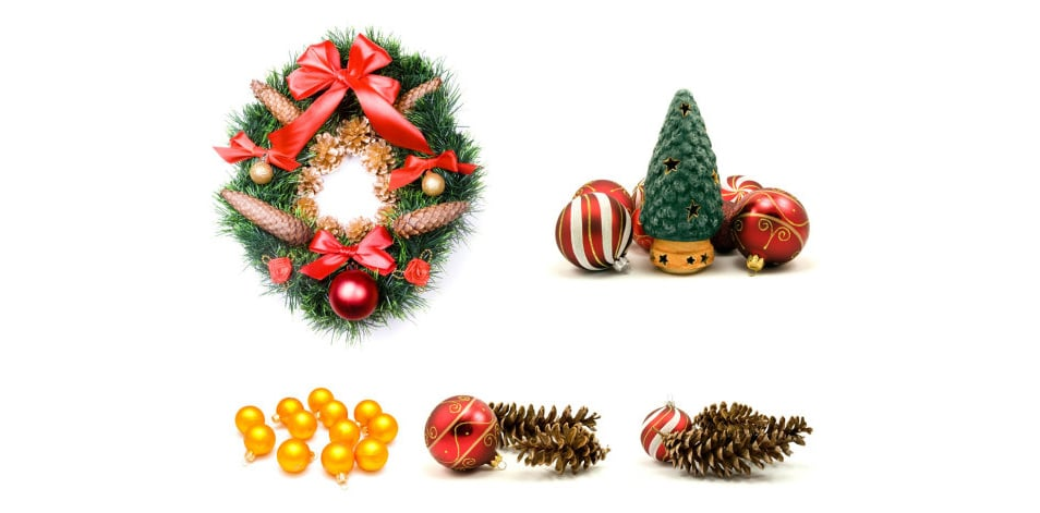 Christmas decoration elements PSD
