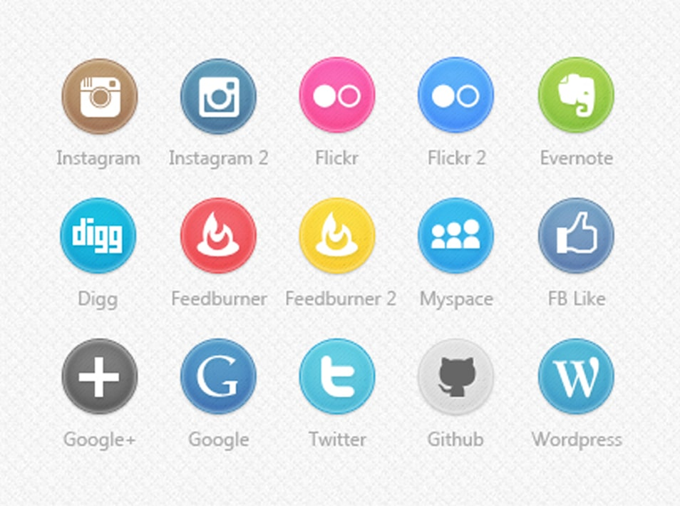 Circle Social Icons Set 2