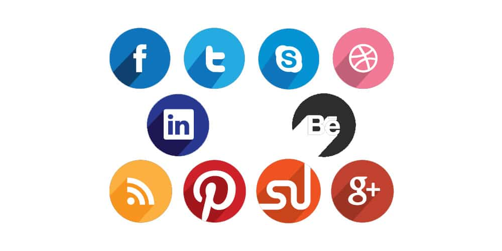 Circular Flat Social Media Icons