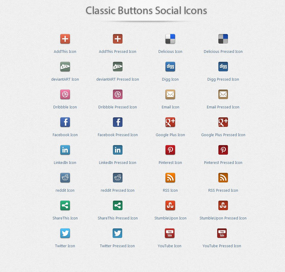 Classic Buttons Social Icons