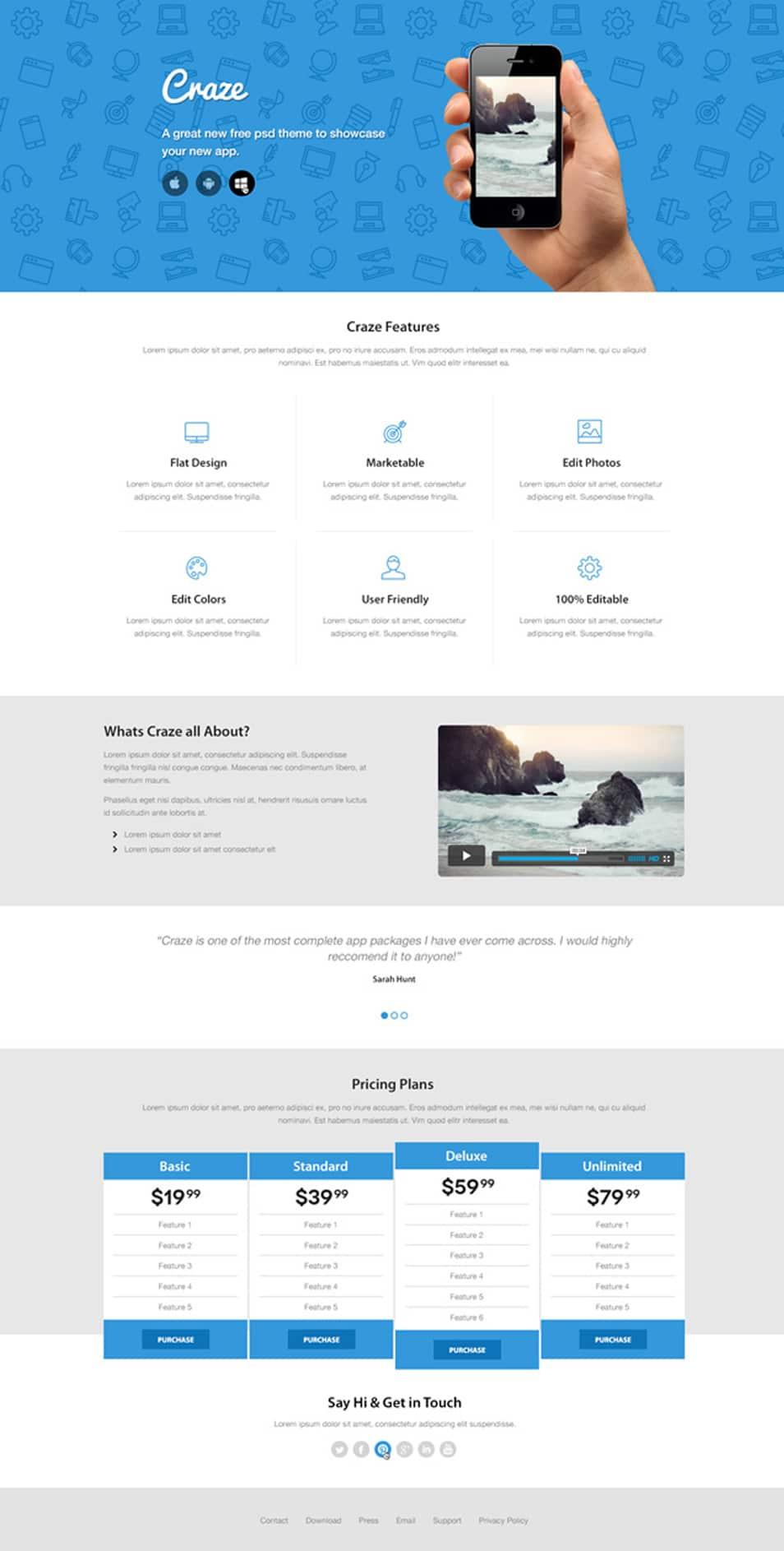 Craze Trendy Landing Page Website design
