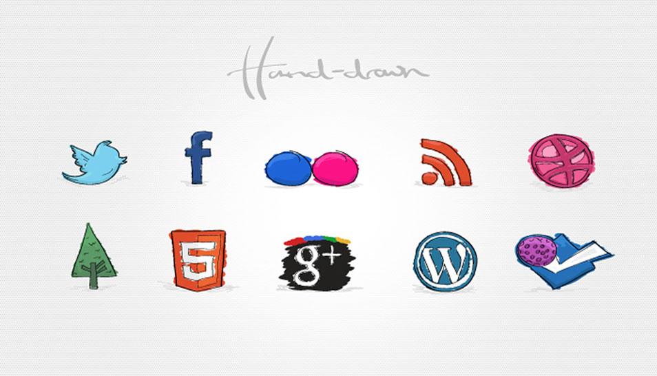 Creative Hand Drawn Social Media Icons