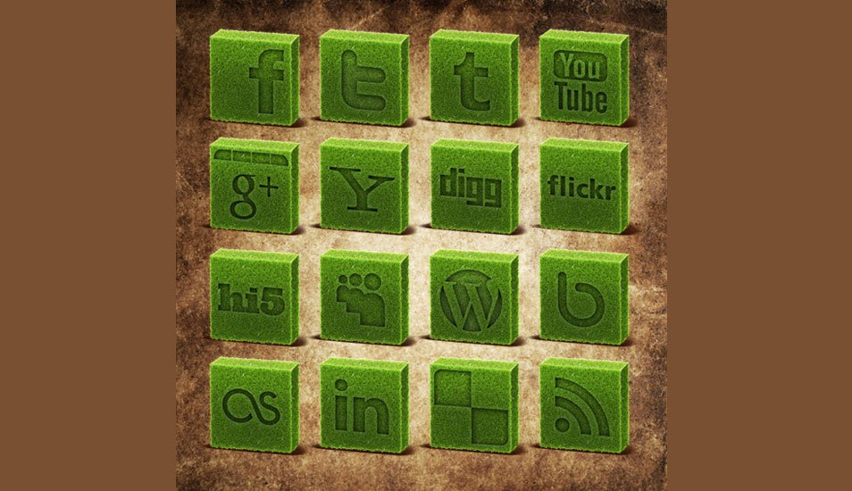 Cubed Grass Social Media Icons