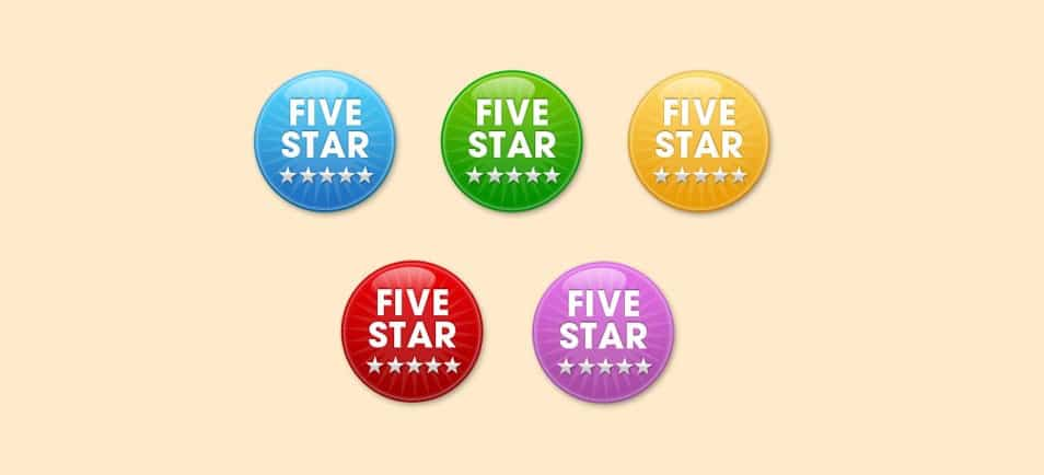 Five Star Badges PSD