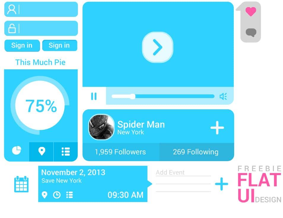 Flat Blue UI Design Free PSD
