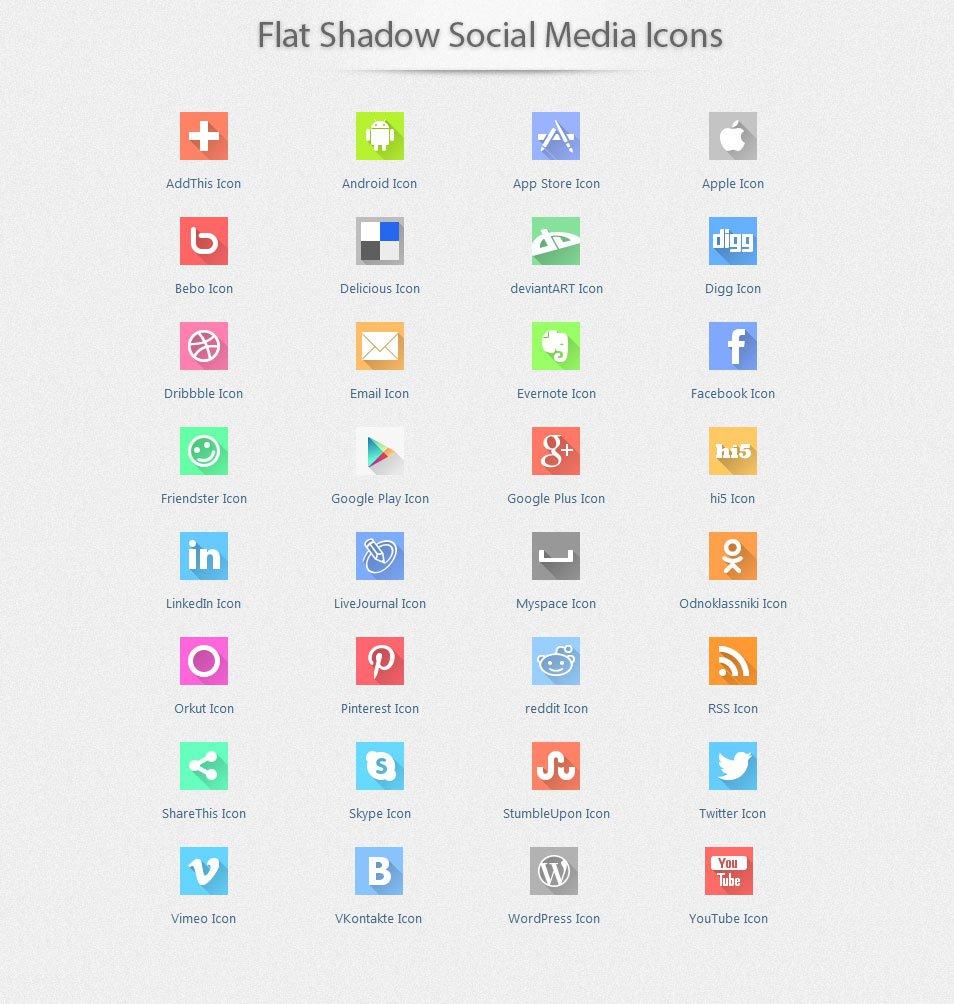 Flat Shadow Social Media Icons