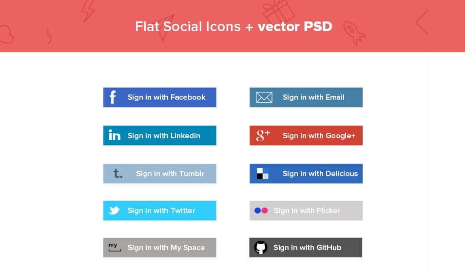 Flat Social media Vector Icons PSD