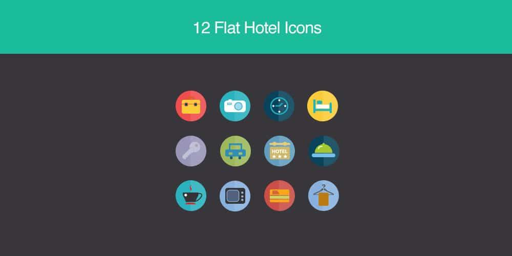 Free 12 Flat Hotel Icons