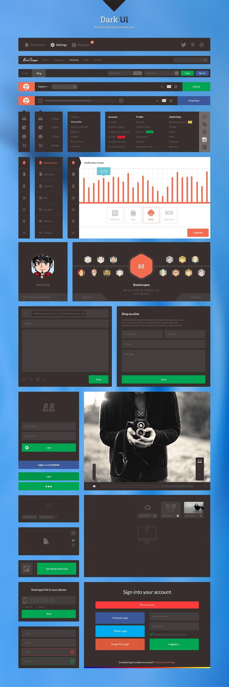 Free Dark UI Set