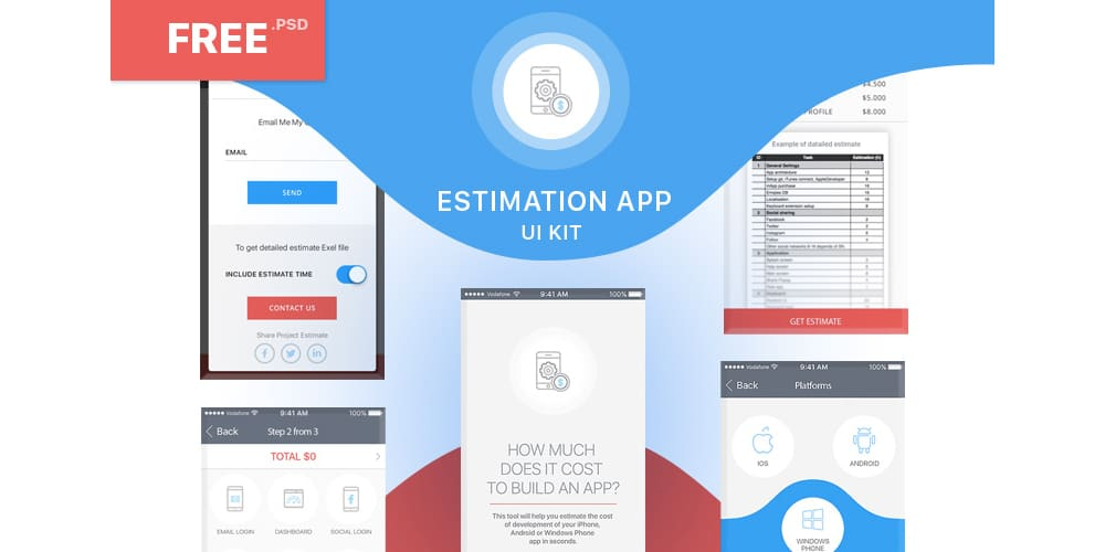 Free Estimation App UI Kit PSD