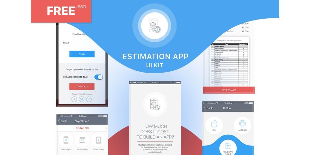 Free Estimation App UI Kit PSD