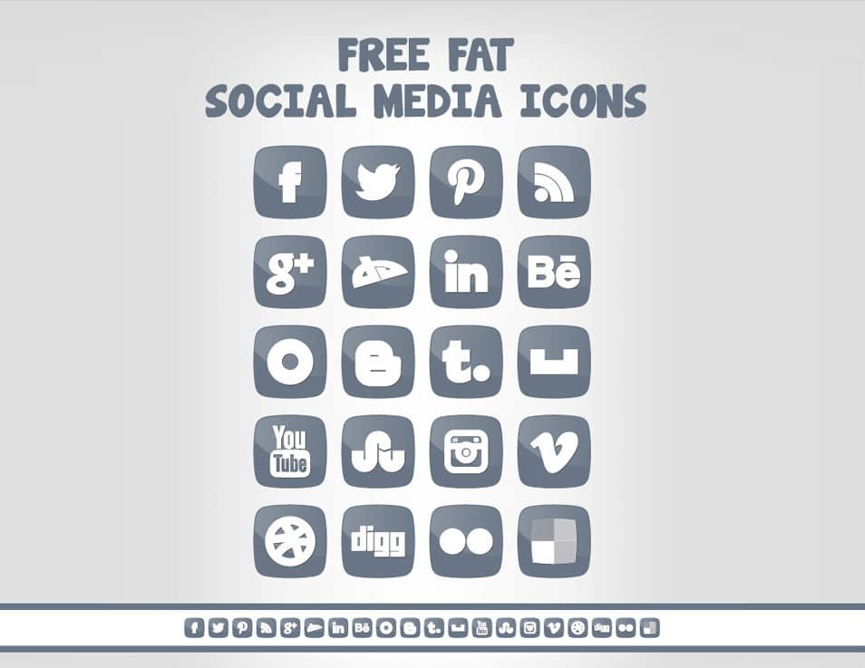Free Fat Social Media Icon Set