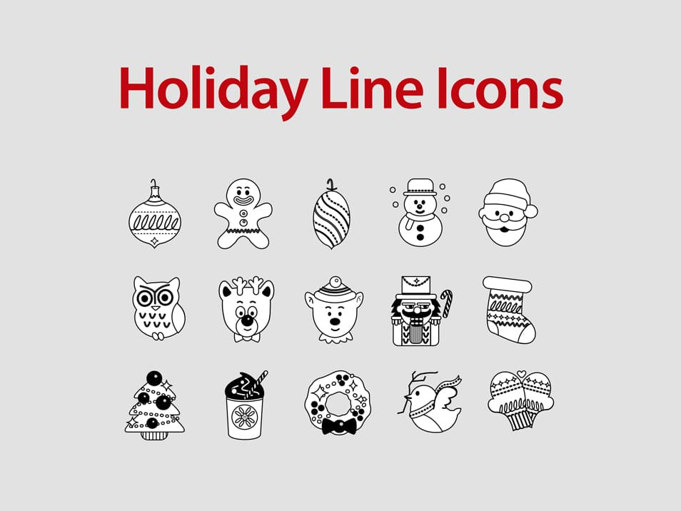 Free Flat Line Holiday Icons