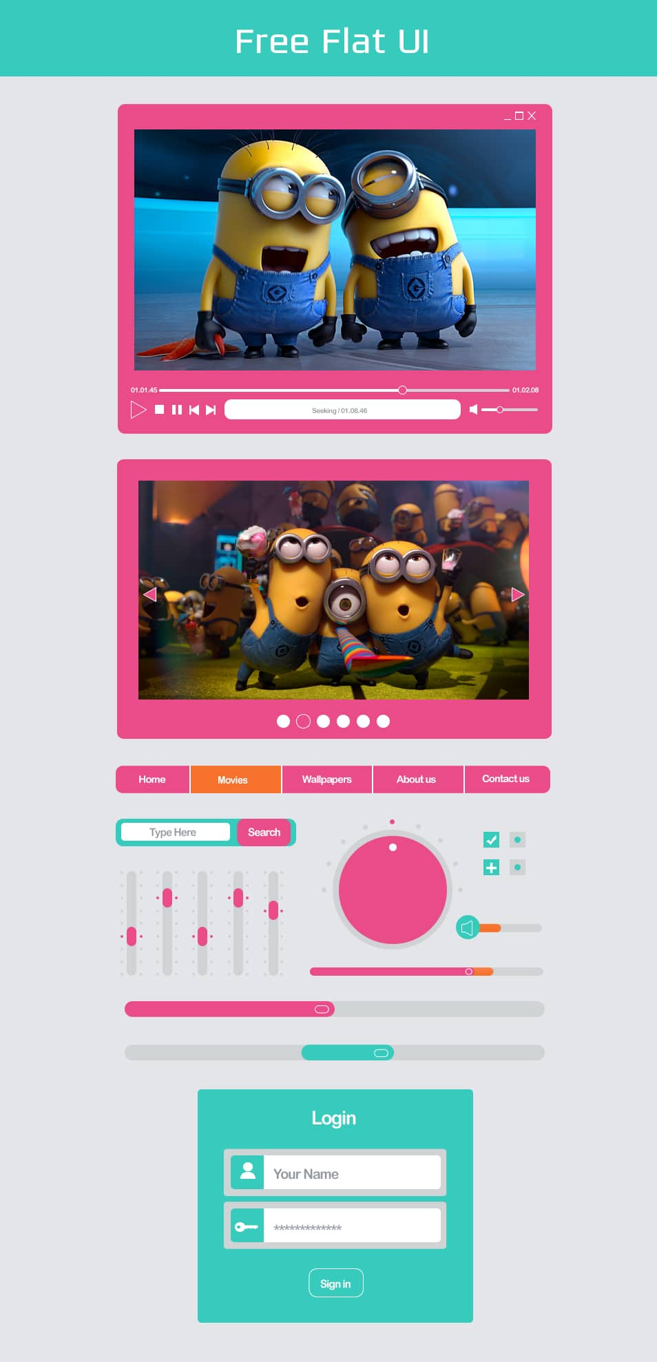 Free Flat UI Design PSD