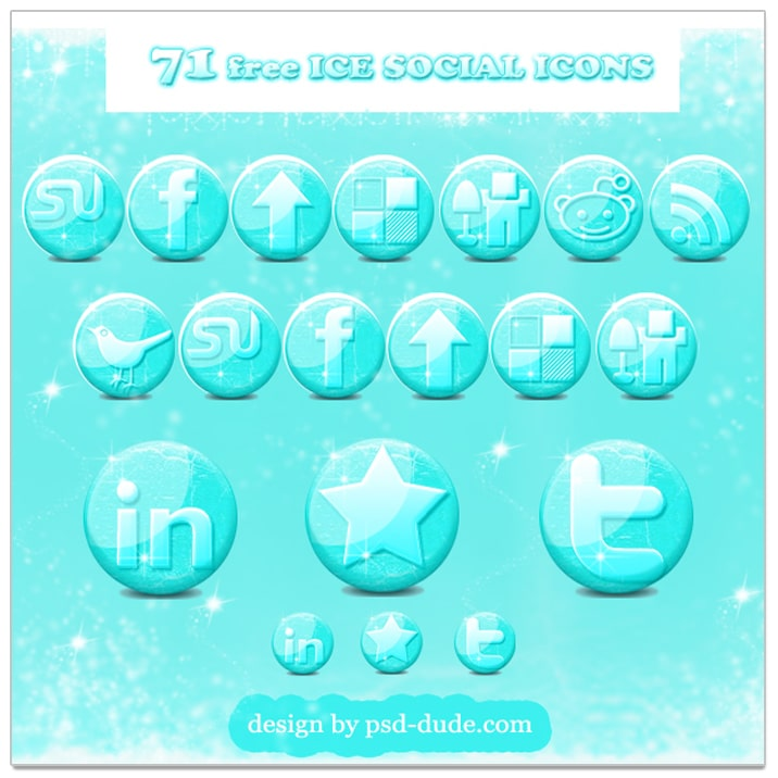 Free Glossy Ice Social Media Icons for the Winter Season