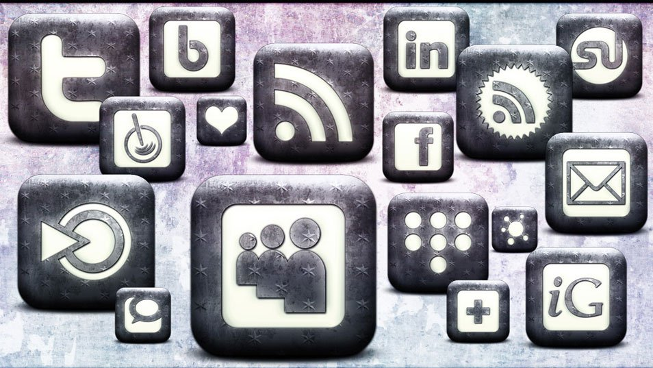 Free High Res Whitewashed Star Patterned Social Bookmarking Icons