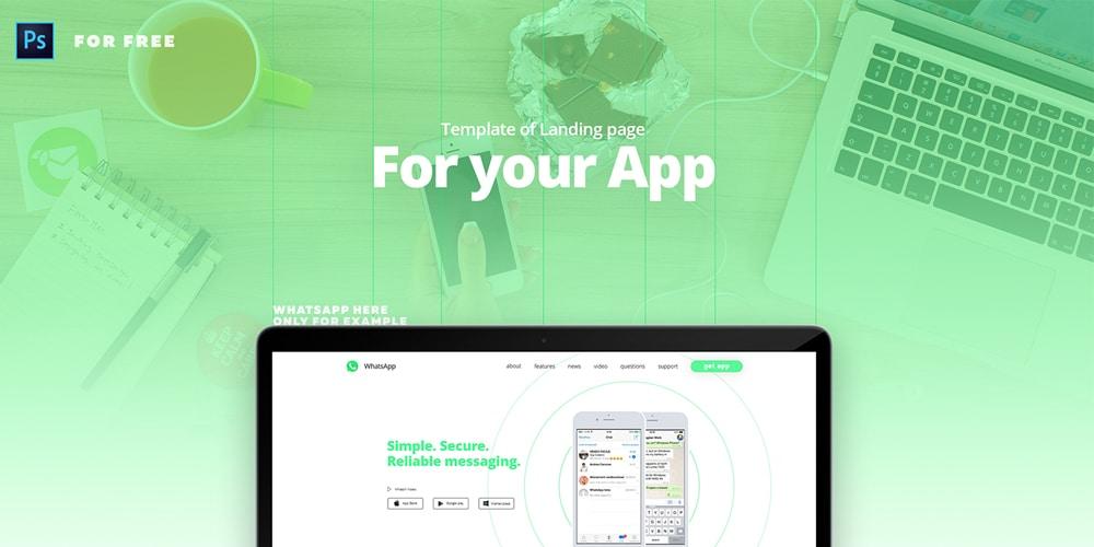 Free Landing page Bootstrap Web UI Kit PSD