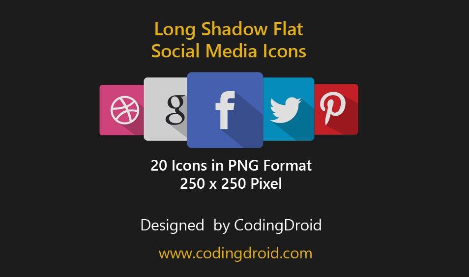 Free Long Shadow Flat Social Media Icon