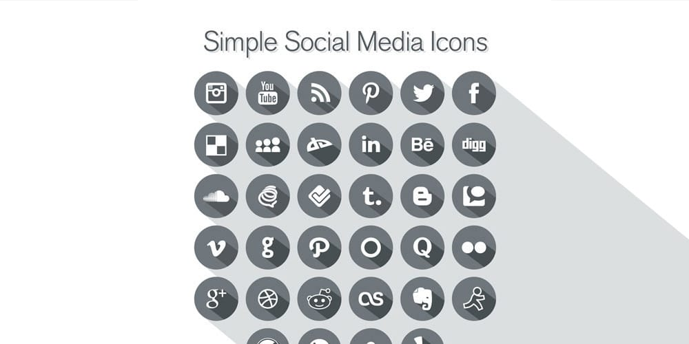 Free Long Shadow Simple Social Media Icons