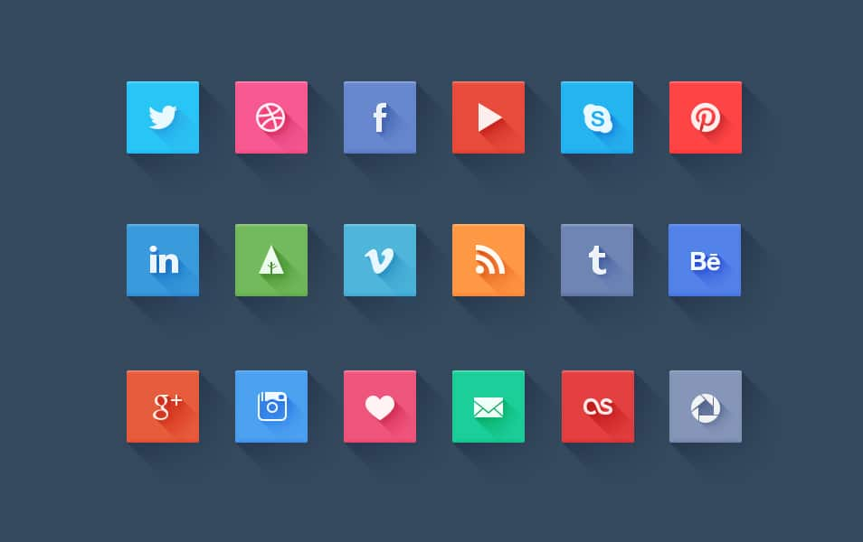 Free Long Shadow Social Icons