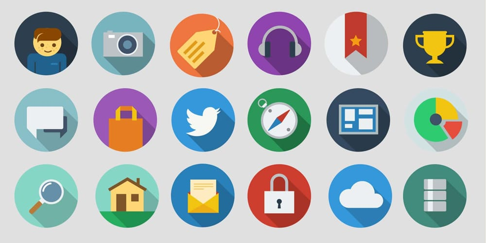 Free Modern Long Shadow Icons